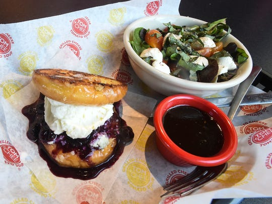 Caprese salad and Blueberry Blue grilled cheese donut