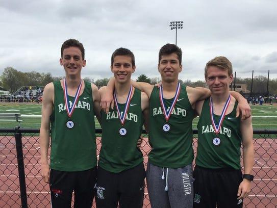 Ben Landel, far left, with the Ramapo school-record distance medley relay team