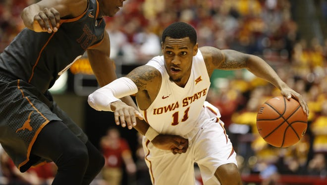 Iowa State guard Monte Morris (11) tries to move past Texas guard Tevin Mack (0) Saturday, Feb. 13, 2016, during the Cyclones 85-75 win over the Longhorns at Hilton Coliseum in Ames.
