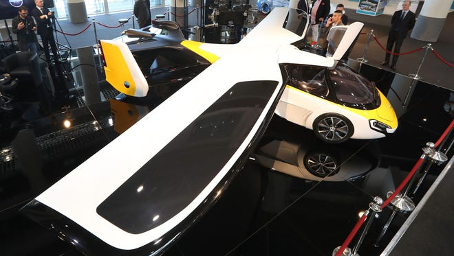 """The Aeromobil, a flying supercar, is on display as part of the """"Top Marques"""" show, dedicated to exclusive luxury goods, in Monaco April 20, 2017."""