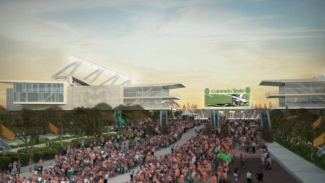 A rendering shows what CSU's new on-campus football stadium could look like.