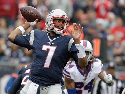 New England Patriots quarterback Jacoby Brissett passes in front of Buffalo Bills cornerback Stephon Gilmore (24) during the first half of an NFL football game Sunday, Oct. 2, 2016, in Foxborough, Mass. (AP Photo/Steven Senne)