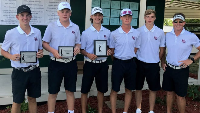 Henderson County's boys golf team won the team title in Monday's Christian County Invitational at Western Hills Country Club in Hopkinsville with a team score of 340. Team members are, from left, Blake Clement, Will Owen, Maclaine Morris, Jake Willoughby, Dakota West and coach Adam Grogan.