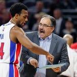 Detroit Pistons' Stan Van Gundy wearing coaching hat during break