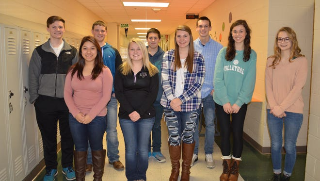HCHS January students of the month are, front row from left: Sonia Arroyo, Maddie Lacer, Marissa Lynn, Morgan Farris and Liliana Welch. Back row: Carson Ellis, Paxton McGraw, Dylan Townsend and Noah Thomas. Not pictured: Alisha Owens, Emma Lander and Jackson Hogg