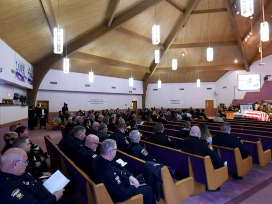A large number of local law enforcement attended the