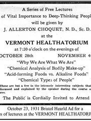Oct. 23, 1931 ad for the Vermont Healthatorium in Bristol.