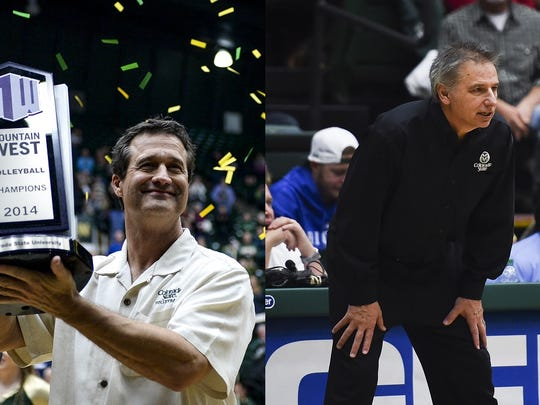CSU volleyball coach Tom Hilbert, left, and CSU men's basketball coach Larry Eustachy.
