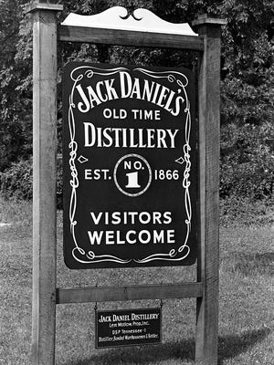 The sign sits at the entrance of Jack DanielÕs Old Time Distillery in Lynchburg, Tenn. July 3, 1965.