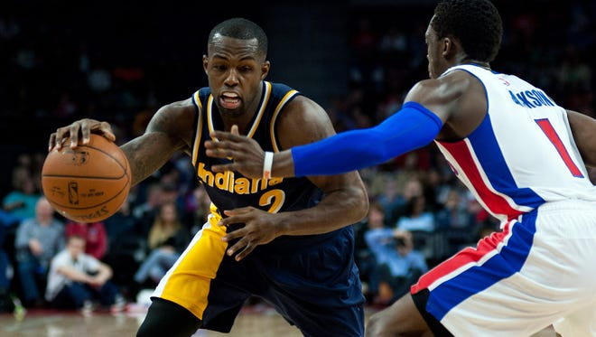 Indiana Pacers guard Rodney Stuckey (2) goes to the basket against Detroit Pistons guard Reggie Jackson (1) during the fourth quarter at The Palace of Auburn Hills. Pacers won 107-103.