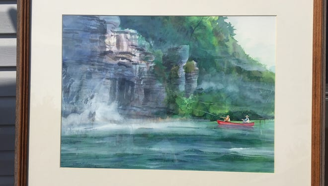 An original watercolor by Duane Hada offered in the Autumn Auction Saturday to benefit Baxter County Historical & Genealogical Society.