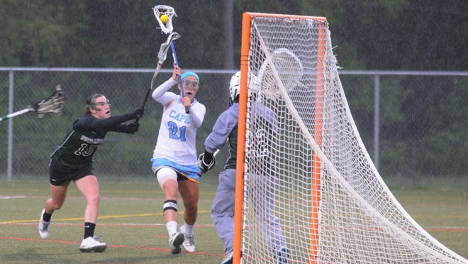 Cape Henlopen's Lexi Woodruff scores against Tower Hill in Thursday's DIAA semifinal in Lewes.