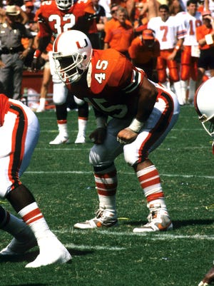 George Mira Jr., father of current Staunton Brave Nick Mira, during his senior season with the University of Miami in 1987. Mira was an All-American linebacker for the Hurricanes.