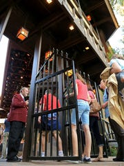 Patrons enter the Adams Memorial Shakespearean Theatre