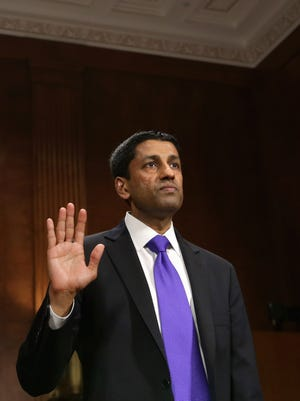 Principal Deputy Solicitor General of the United States Srikanth Srinivasan is sworn in before testifying to the Senate Judiciary Committee on Capitol Hill on April 10, 2013, in Washington, D.C.