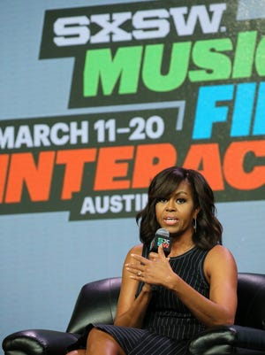 First Lady Michelle Obama speaks on stage during a keynote session at the South By Southwest Music Festival in Austin.