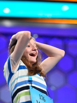 Seventh-grader Maggie Sheridan spelled the word whirlicote (a luxurious carriage) correctly during the final round of the 2017 Scripps National Spelling Bee on June 1, 2016.