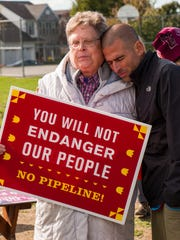 Mark Clatterbuck and Sister Bernice Clostermann mourn construction of the pipeline.