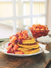 "Pumpkin pancakes from ""Morning in the Mountains."""