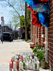 A memorial outside of 127 East Maple St., in York City,