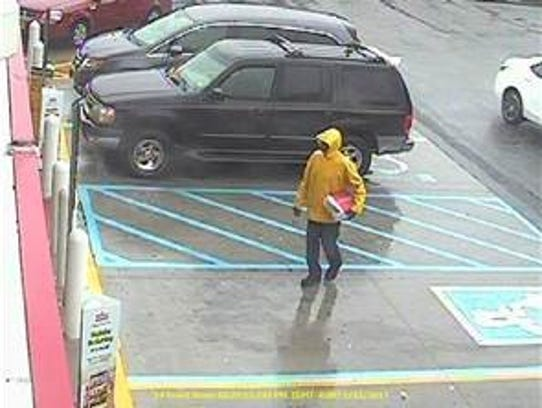 Photo of man sought in Monday's robbery of Payless