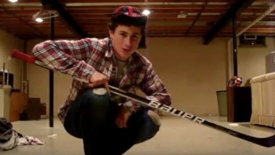 """A 13-year-old Dylan Larkin sets the stage for his """"snipe show session."""""""