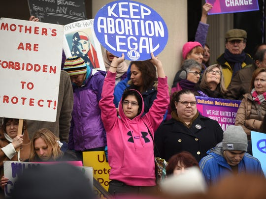 Protesters rally in Trenton, NJ, on Saturday, Jan. 21, 2017, for the Women's March on New Jersey.