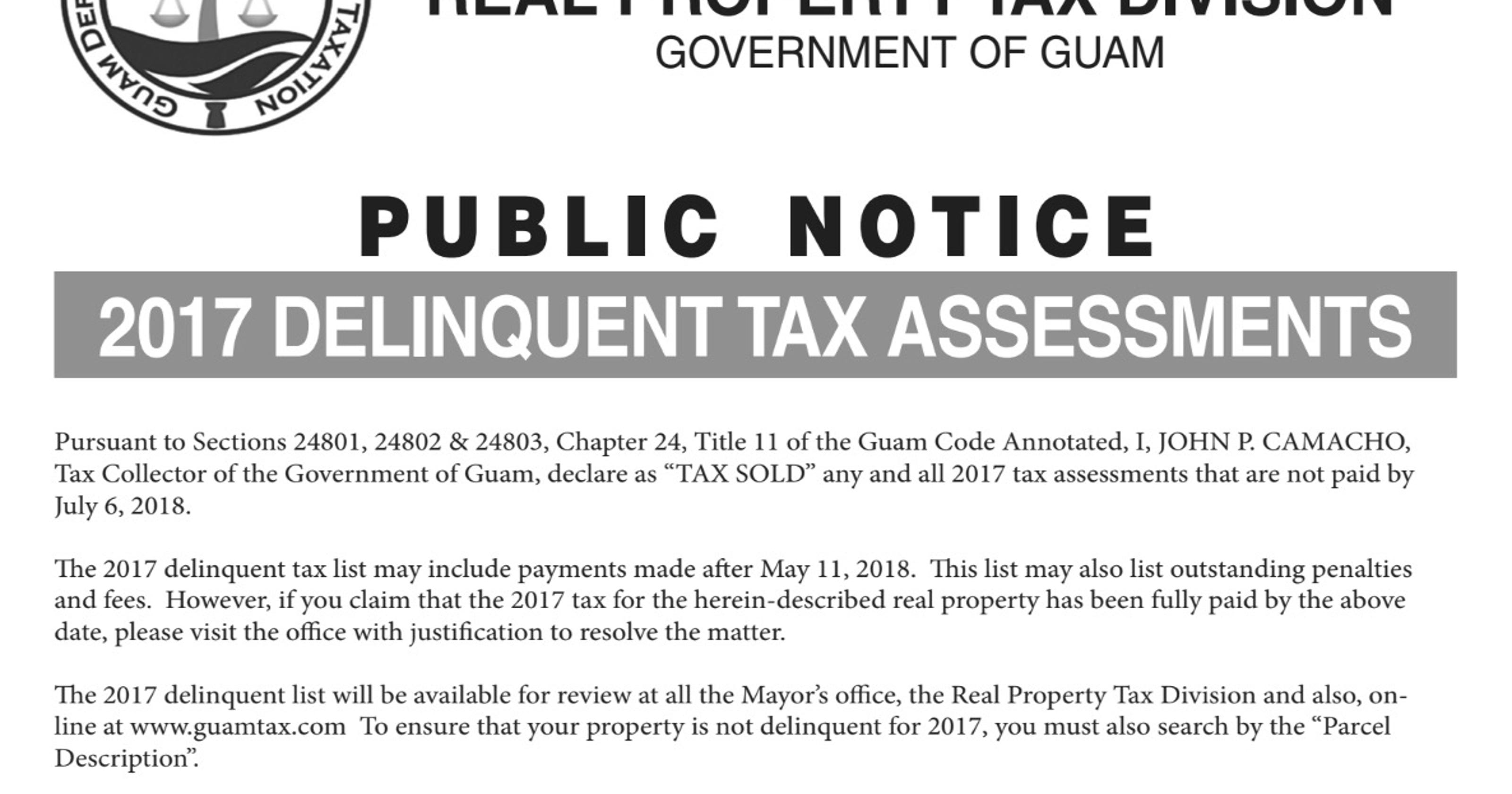 Guam Revenue and Taxation's 2017 delinquent tax assessments