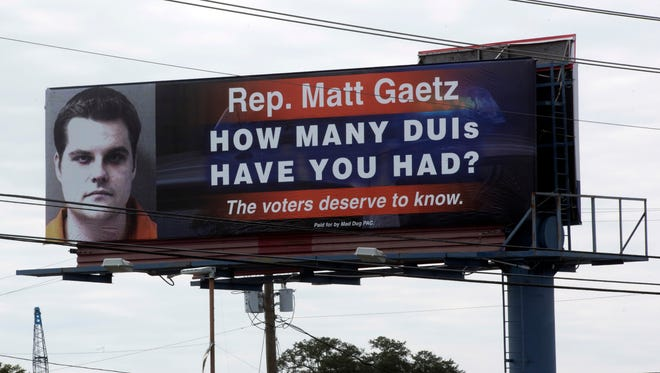 "Mad Dog PAC paid for a billboard at West Navy Boulevard and Cahn Street in Pensacola with a mugshot of Gaetz from a 2008 DUI arrest and the caption, ""Rep. Matt Gaetz, how many DUIs have you had? The voters deserve to know."""
