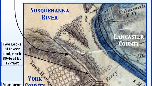 Section of 1858 Joshua Scott map of Lancaster County, PA (Annotated by S. H. Smith, 2015)