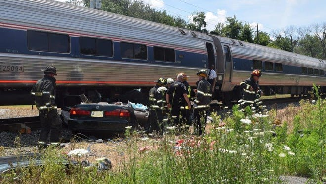 A vehicle collided with an Amtrak train around 2:50 p.m. Saturday, July 9, 2016, near the 300 block of Burgess Avenue in Indianapolis.