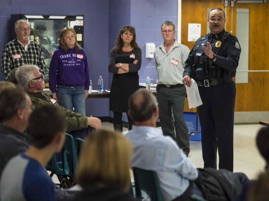 Richmond Police Chief Al Buck speaks during a community
