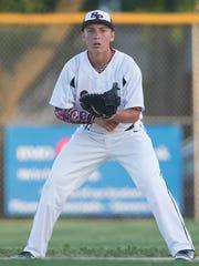 Stevens Point's first baseman Jacob Piotrowski during the American Legion baseball game at Veterans Memorial Park in Plover, Tuesday,  June 21, 2016.