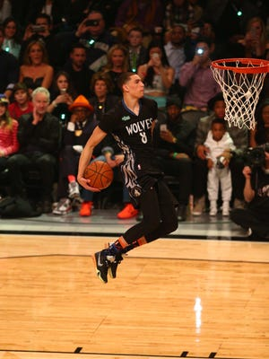 Feb 14, 2015; New York, NY, USA; Minnesota Timberwolves guard Zach LaVine (8) during the 2015 NBA All Star slam dunk competition at Barclays Center. Mandatory Credit: Brad Penner-USA TODAY Sports