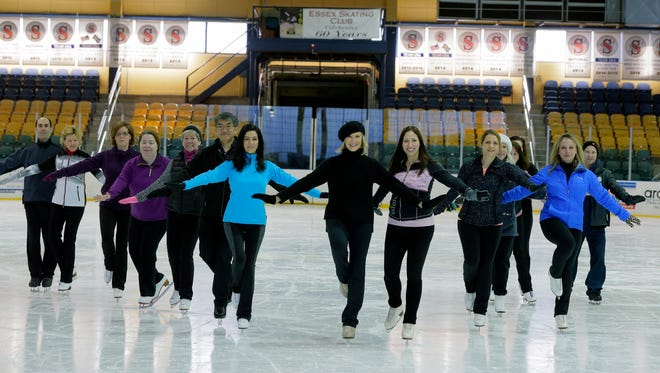 Former Olympian JoJo Starbuck, a Madison resident, teaches an adult figure skating class at Codey Arena in West Orange, NJ Thursday, February 18, 2016.