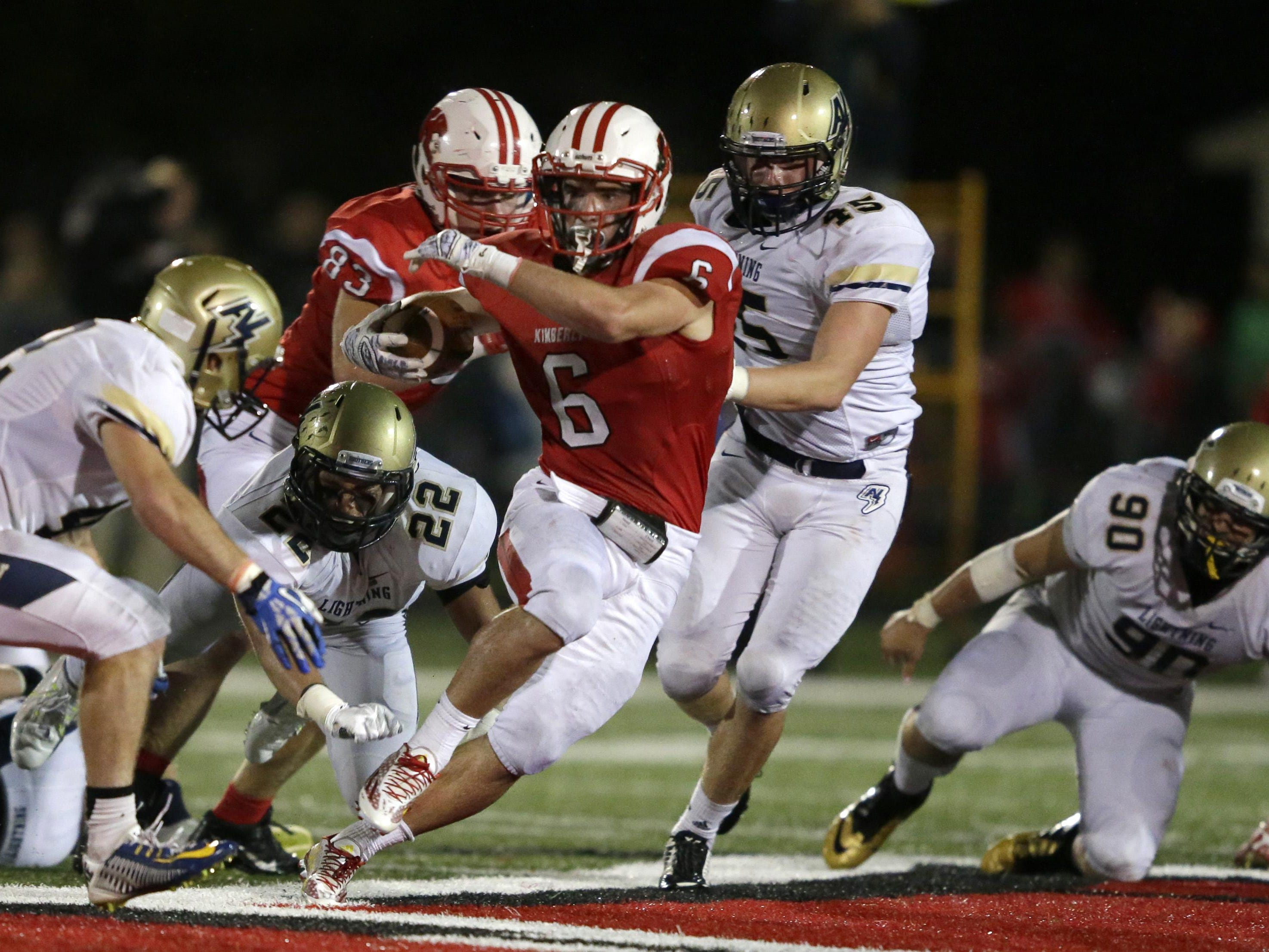 Kimberly High School's Blair Mulholland runs against Appleton North High School during a football game Friday in Kimberly.