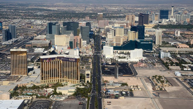 General view of the Las Vegas strip and skyline on Las Vegas Blvd.