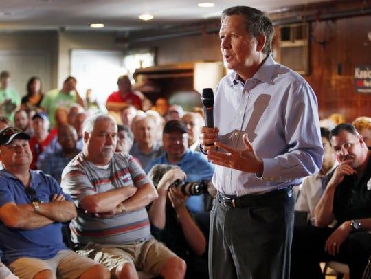 Ohio Gov. John Kasich campaigns for president on Aug.