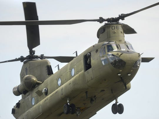 A CH-47 Chinook military helicopter.
