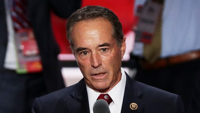 Rep. Chris Collins, R-N.Y., on the second day of the Republican National Convention in July at the Quicken Loans Arena in Cleveland, Ohio.