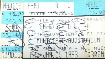 Pictured is Jay Jefferson Cooke's admission ticket to the Megadeth with Stone Temple Pilots performance on Jan. 15, 1993 at the Municipal Auditorium in Nashville, Tenn. Cooke met Scott Weiland at the performance, and Weiland autographed Cooke's ticket.
