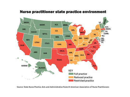 Nurse practitioner state practice environment map