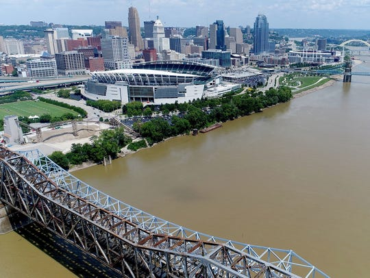 A view over the Ohio River near Paul Brown Stadium.