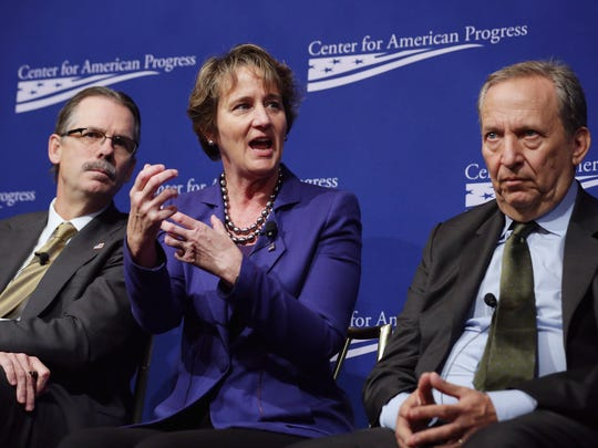 (L-R) Silver Lake Managing Director Glenn Hutchins, Service Employees International Union President Mary Kay Henry and Former Clinton Administration Treasury Secretary and former Obama Administration Director of the White House United States National Economic Council Larry Summers participate in a panel discussion during a conference commemorating the 10th anniversary of the Center for American Progress in the Astor Ballroom of the St. Regis Hotel on OCc. 24, 2013, in Washington, DC.