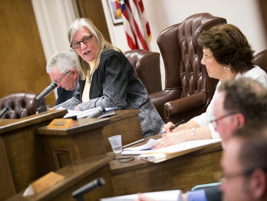 Town of Union Supervisor Rose Sotak speaks during a