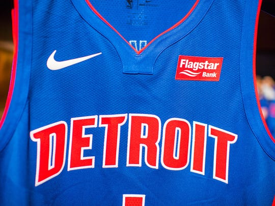 The Detroit Pistons' new Nike uniform, complete with the new Flagstar Bank jersey patch.
