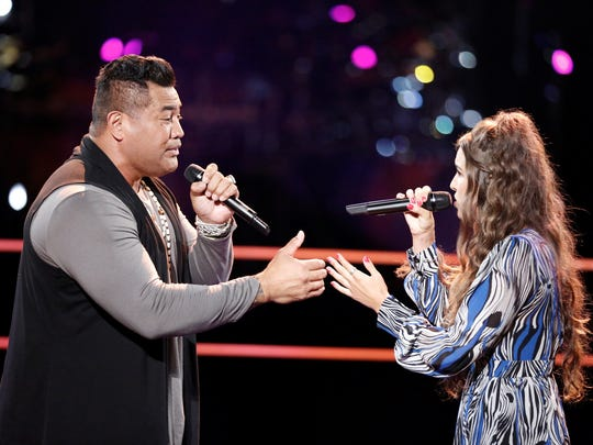"On Tuesday night's  episode of ""The Voice,"" Rebecca Brunner squared off against Esera Tuaolo. They performed NSYNC's 2000 hit, ""This I Promise You."""