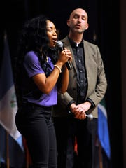 """Jasmine Washington sings """"I Am Thine, Oh Lord"""" with Jeffery Goolsby at the Abilene Christian University Summit last year at Cullen Auditorium at ACU."""