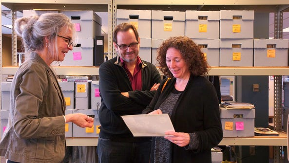 Pictured (left to right): head archivist at the U-M