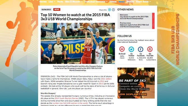 "Guam's team featured on the International Basketball Federation's website. FIBA named team member Kali Benavente as a potential ""star of tomorrow."""
